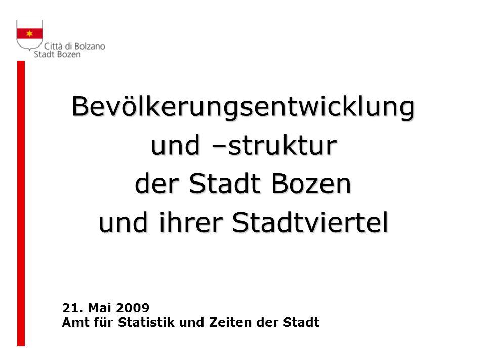Die Wohnbevölkerung von Bozen Bevölkerung von Bozen am 31.12.2008: 101.919 Personen Zuwachs im Vergleich zu 2007: 1.290 Personen (+1,3%) Die Einwohner der Stadt Bozen stellen 20,4% der Südtiroler Bevölkerung Bevölkerungsdichte: 1.947 Einwohner pro km 2 (67 auf Landesebene)