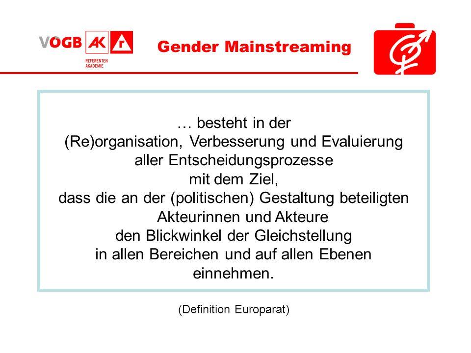 Gender Mainstreaming … besteht in der (Re)organisation, Verbesserung und Evaluierung aller Entscheidungsprozesse mit dem Ziel, dass die an der (politi