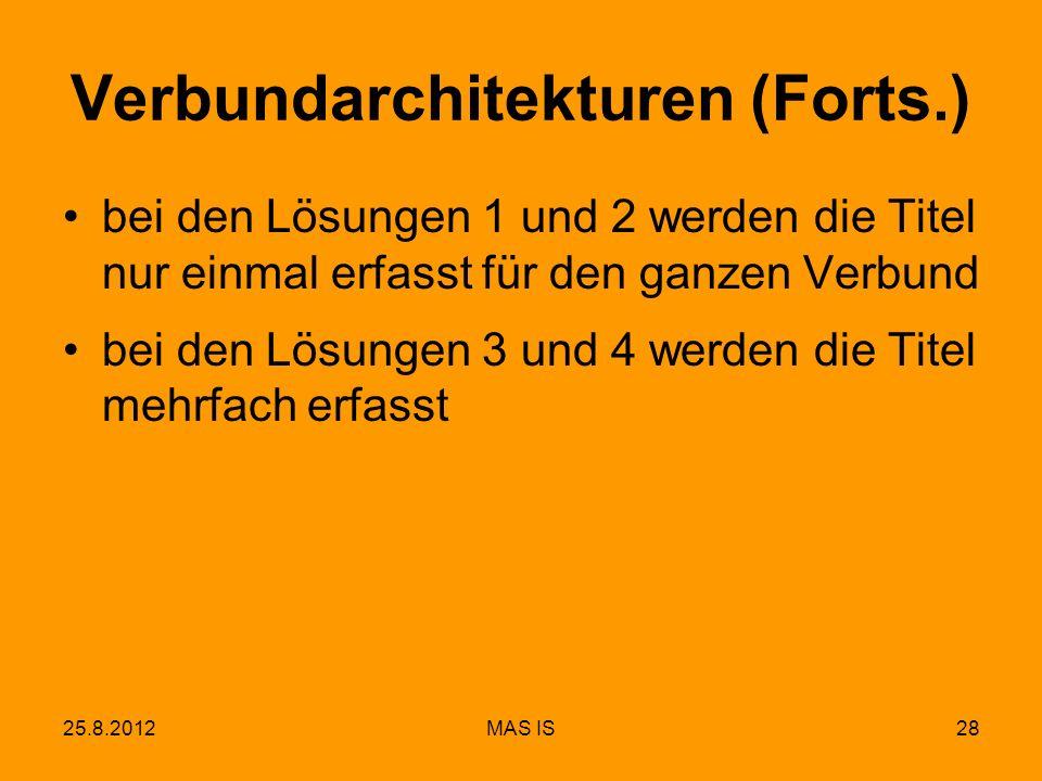 25.8.2012MAS IS28 Verbundarchitekturen (Forts.) bei den Lösungen 1 und 2 werden die Titel nur einmal erfasst für den ganzen Verbund bei den Lösungen 3 und 4 werden die Titel mehrfach erfasst