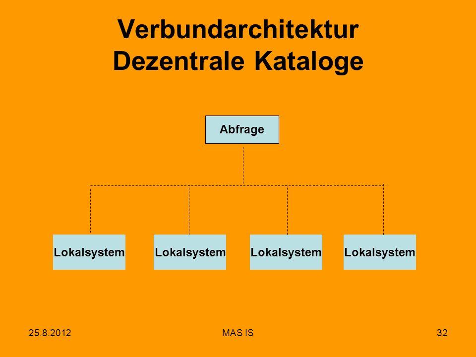 25.8.2012MAS IS32 Verbundarchitektur Dezentrale Kataloge Lokalsystem Abfrage