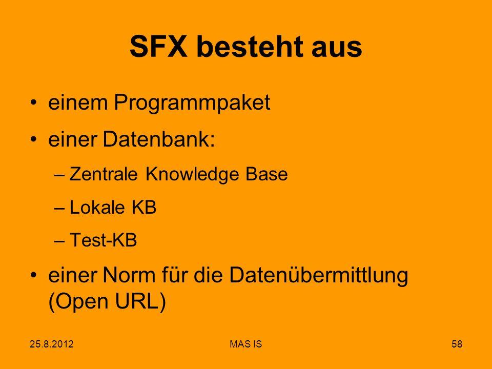 25.8.2012MAS IS58 SFX besteht aus einem Programmpaket einer Datenbank: –Zentrale Knowledge Base –Lokale KB –Test-KB einer Norm für die Datenübermittlung (Open URL)
