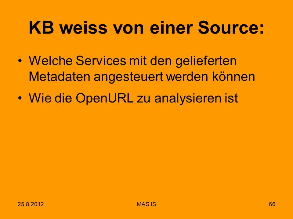 25.8.2012MAS IS66 KB weiss von einer Source: Welche Services mit den gelieferten Metadaten angesteuert werden können Wie die OpenURL zu analysieren ist