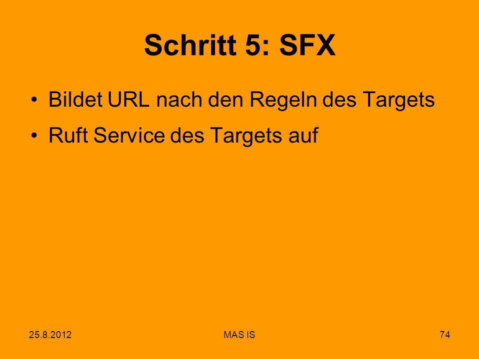 25.8.2012MAS IS74 Schritt 5: SFX Bildet URL nach den Regeln des Targets Ruft Service des Targets auf