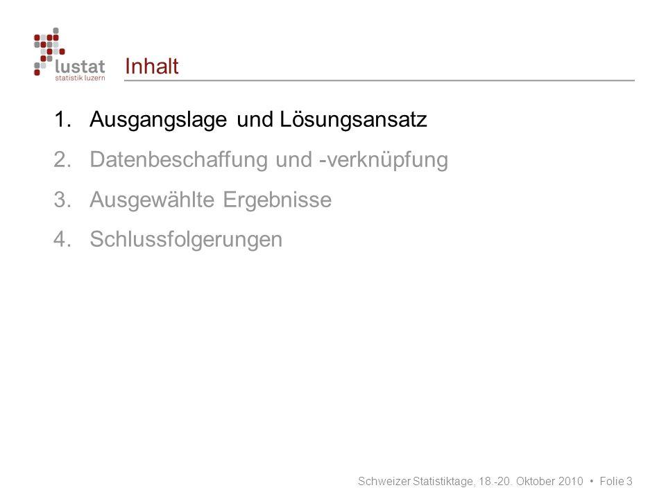 Inhalt 1.Ausgangslage und Lösungsansatz 2.Datenbeschaffung und -verknüpfung 3.Ausgewählte Ergebnisse 4.Schlussfolgerungen Schweizer Statistiktage, 18.