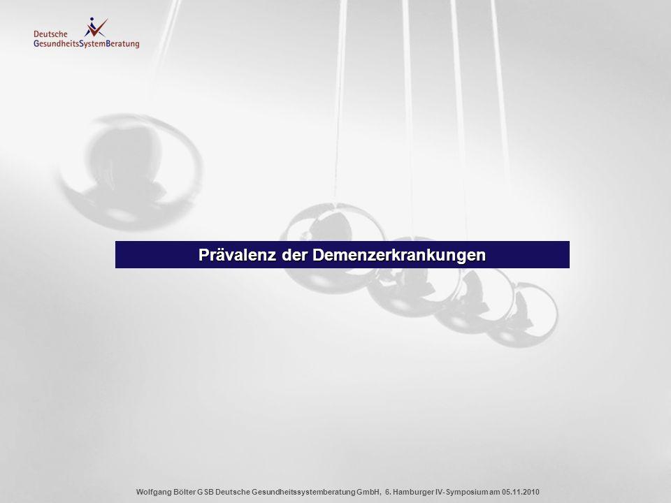 Wolfgang Bölter GSB Deutsche Gesundheitssystemberatung GmbH, 6. Hamburger IV-Symposium am 05.11.2010 Prävalenz der Demenzerkrankungen