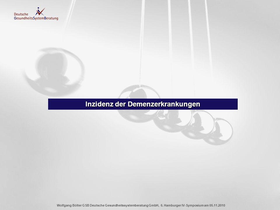 Wolfgang Bölter GSB Deutsche Gesundheitssystemberatung GmbH, 6. Hamburger IV-Symposium am 05.11.2010 Inzidenz der Demenzerkrankungen