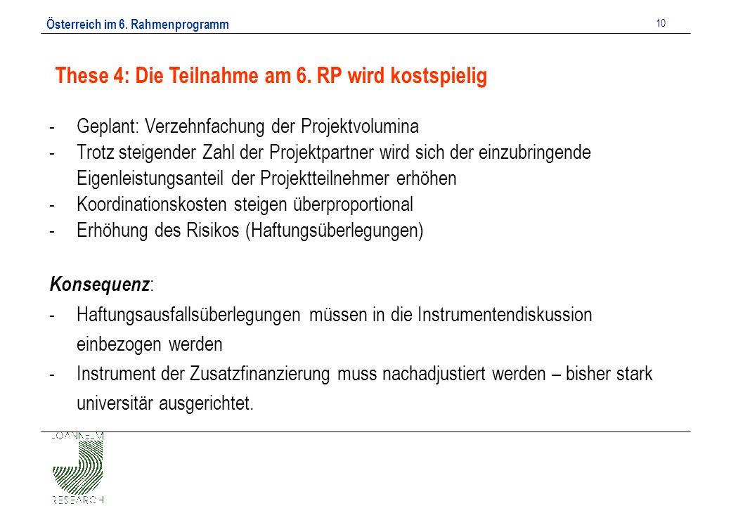 Österreich im 6. Rahmenprogramm 10 These 4: Die Teilnahme am 6.