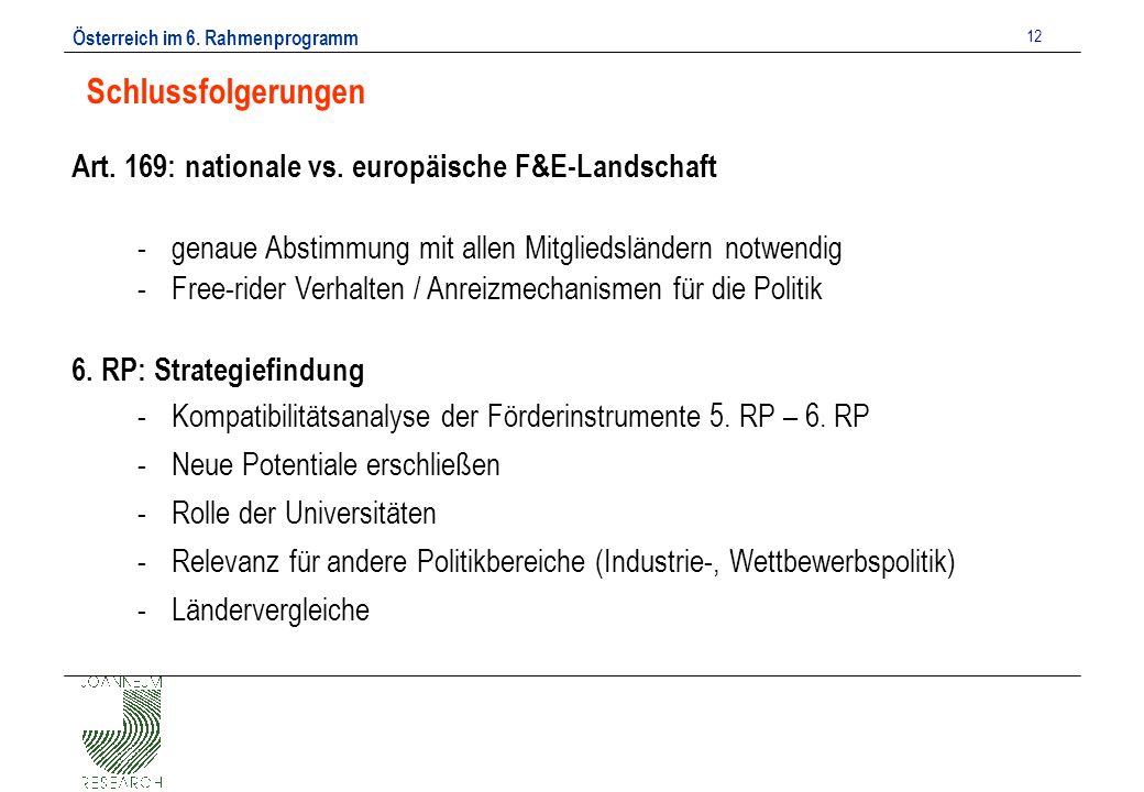 Österreich im 6. Rahmenprogramm 12 Schlussfolgerungen Art.