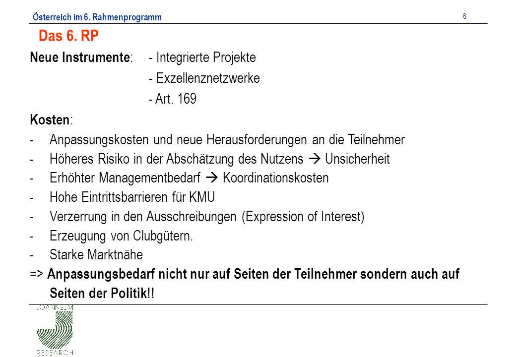 Österreich im 6. Rahmenprogramm 6 Das 6.