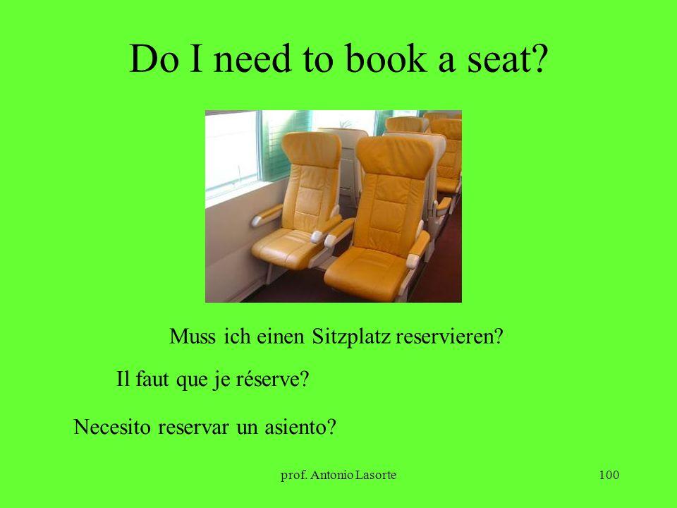 prof. Antonio Lasorte100 Do I need to book a seat? Muss ich einen Sitzplatz reservieren? Il faut que je réserve? Necesito reservar un asiento?