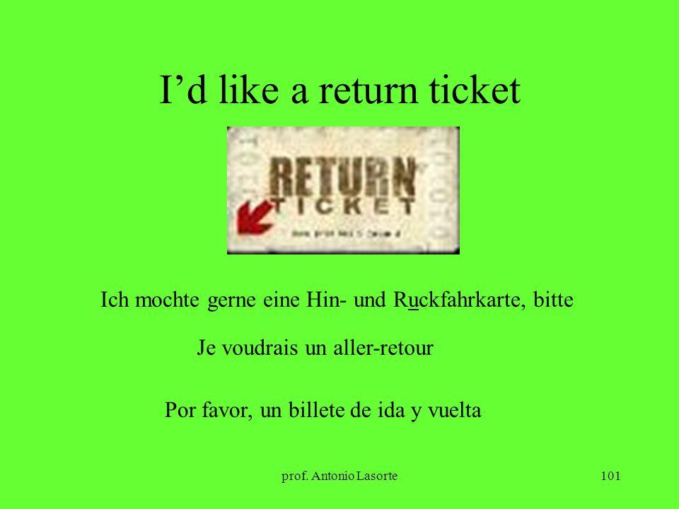 prof. Antonio Lasorte101 Id like a return ticket Ich mochte gerne eine Hin- und Ruckfahrkarte, bitte Je voudrais un aller-retour Por favor, un billete
