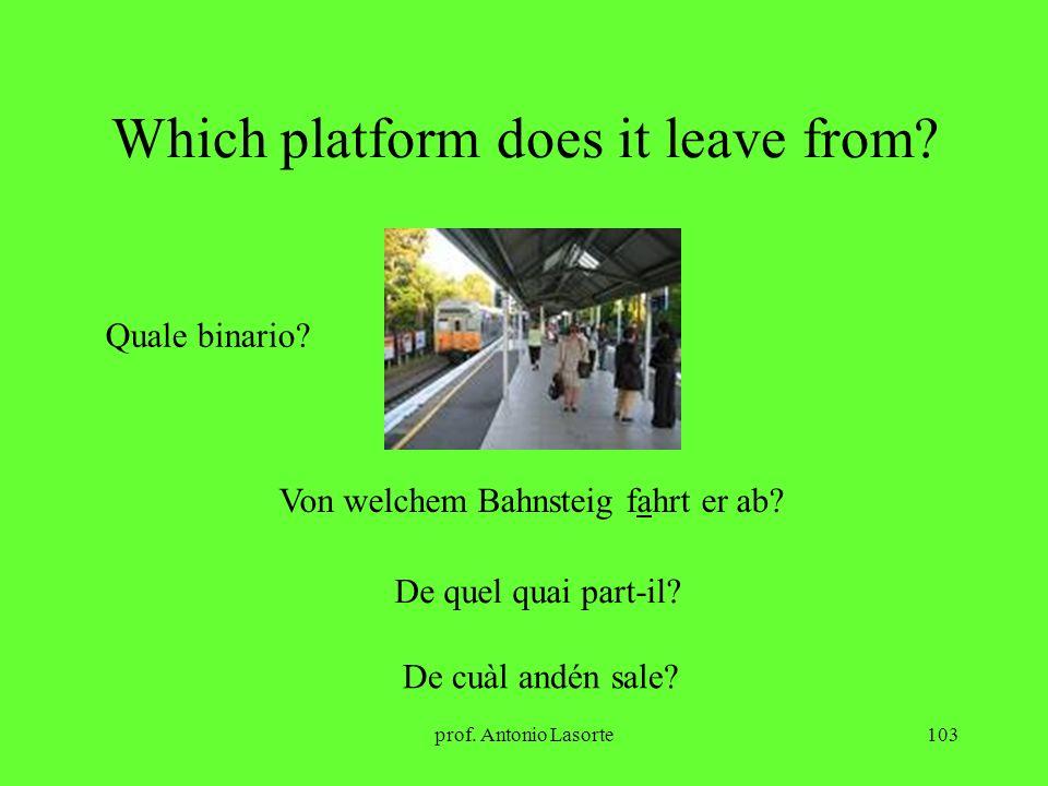 prof. Antonio Lasorte103 Which platform does it leave from? Quale binario? Von welchem Bahnsteig fahrt er ab? De quel quai part-il? De cuàl andén sale