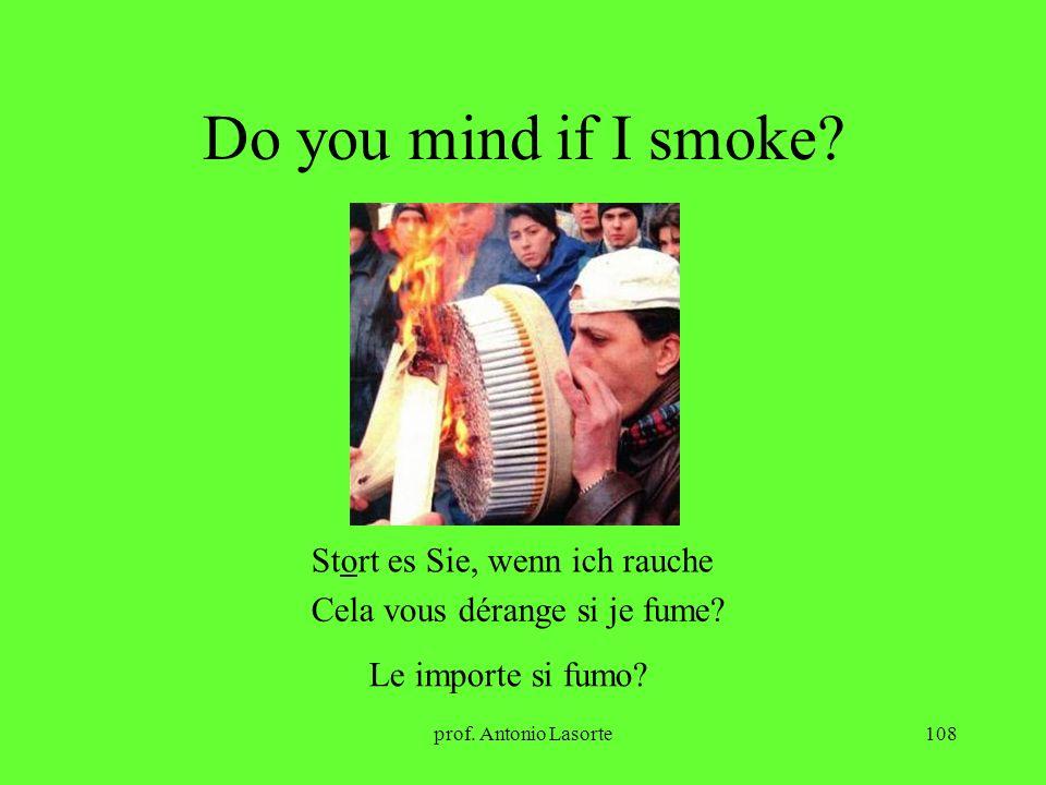 prof. Antonio Lasorte108 Do you mind if I smoke? Stort es Sie, wenn ich rauche Cela vous dérange si je fume? Le importe si fumo?