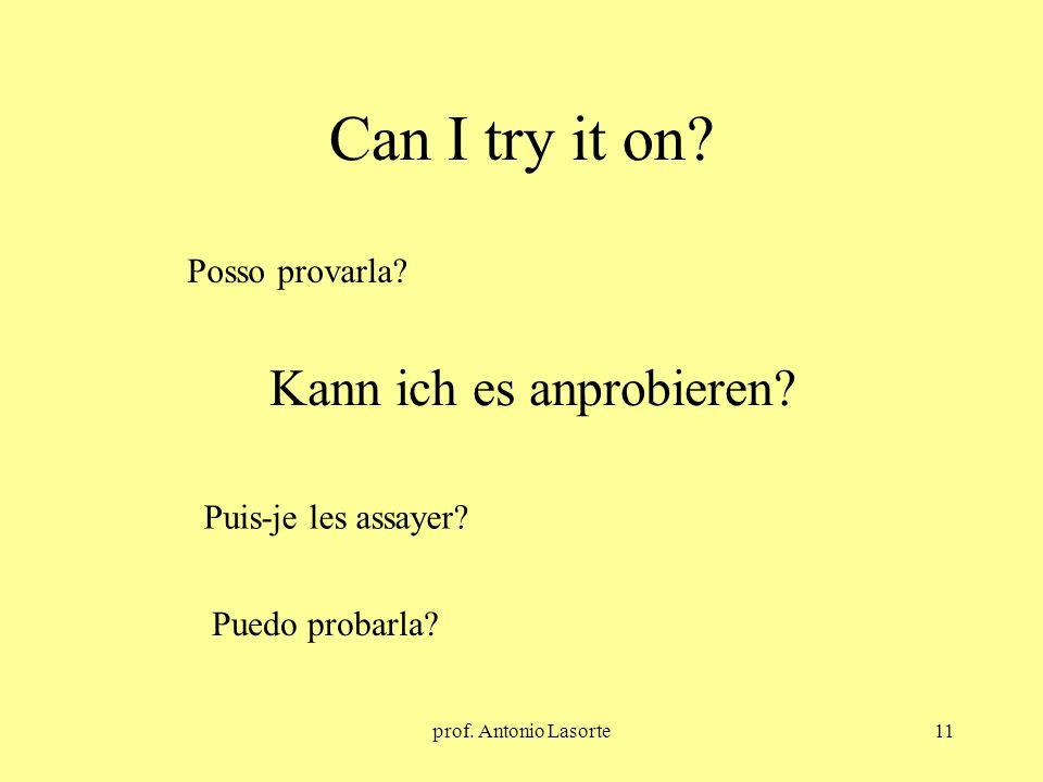prof. Antonio Lasorte11 Can I try it on? Kann ich es anprobieren? Posso provarla? Puis-je les assayer? Puedo probarla?