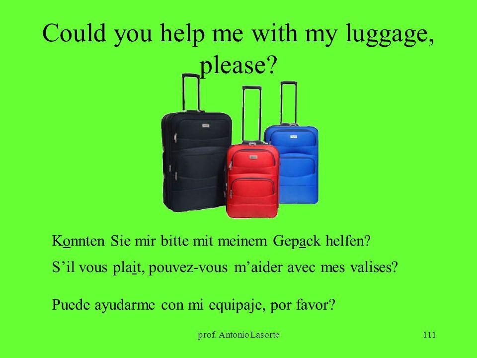 prof. Antonio Lasorte111 Could you help me with my luggage, please? Konnten Sie mir bitte mit meinem Gepack helfen? Sil vous plait, pouvez-vous maider