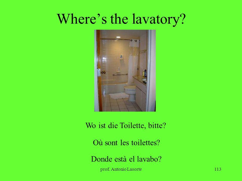 prof. Antonio Lasorte113 Wheres the lavatory? Wo ist die Toilette, bitte? Où sont les toilettes? Donde està el lavabo?