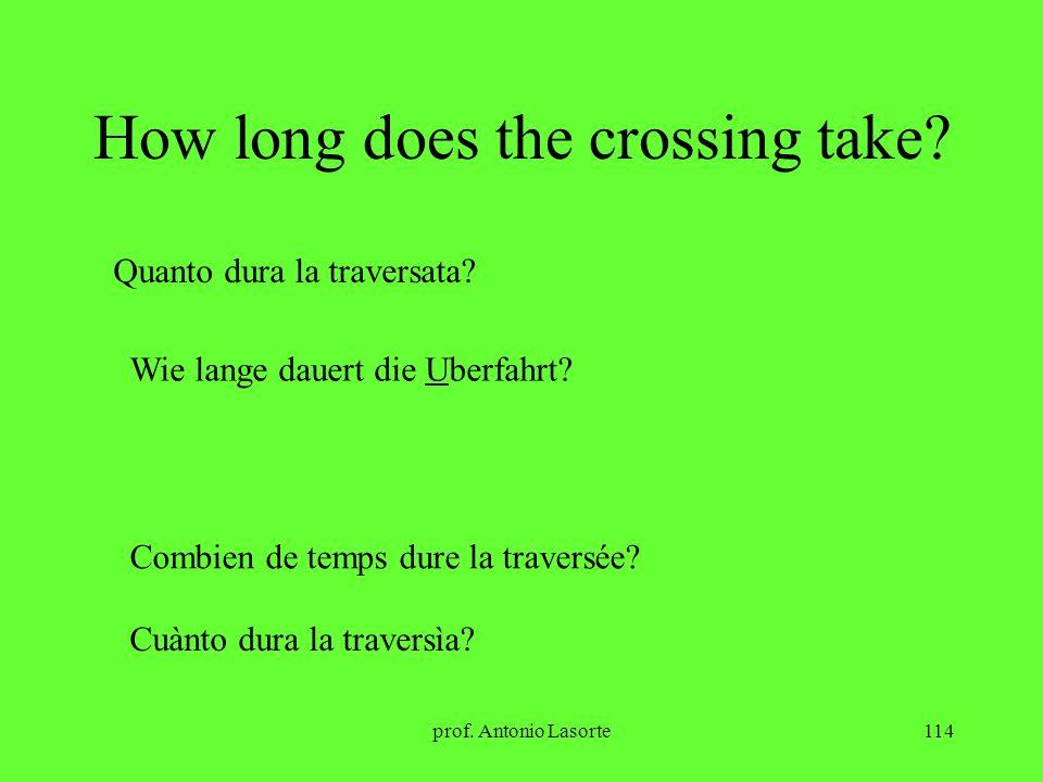 prof. Antonio Lasorte114 How long does the crossing take? Quanto dura la traversata? Wie lange dauert die Uberfahrt? Combien de temps dure la traversé