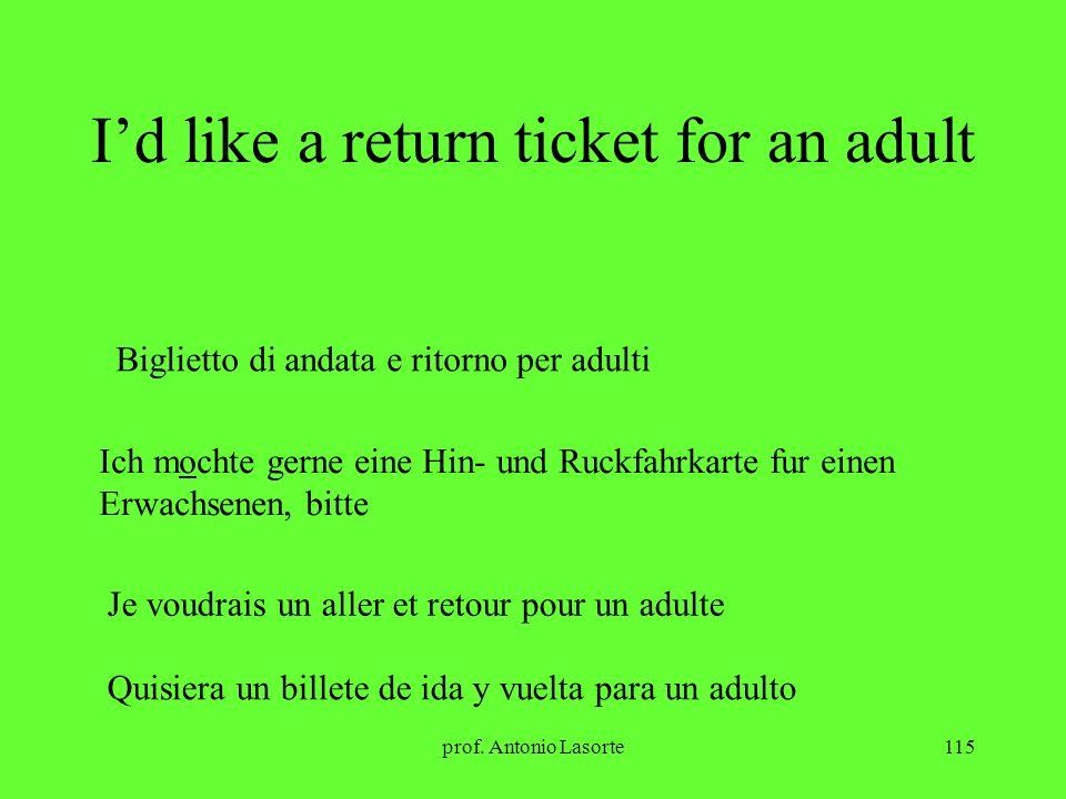 prof. Antonio Lasorte115 Id like a return ticket for an adult Biglietto di andata e ritorno per adulti Ich mochte gerne eine Hin- und Ruckfahrkarte fu