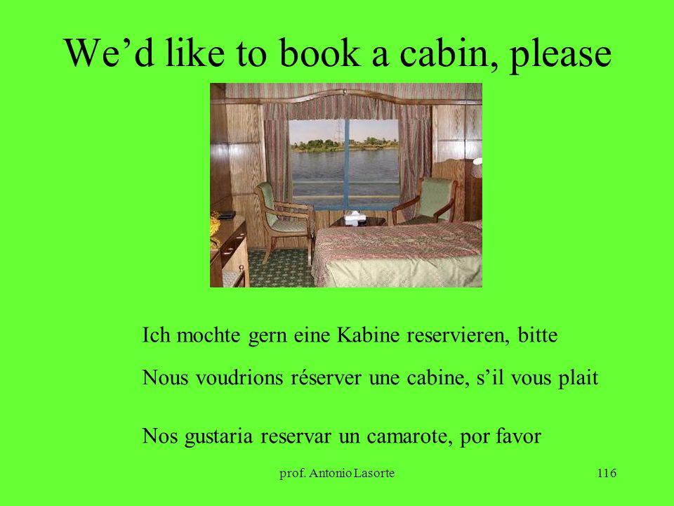 prof. Antonio Lasorte116 Wed like to book a cabin, please Ich mochte gern eine Kabine reservieren, bitte Nous voudrions réserver une cabine, sil vous