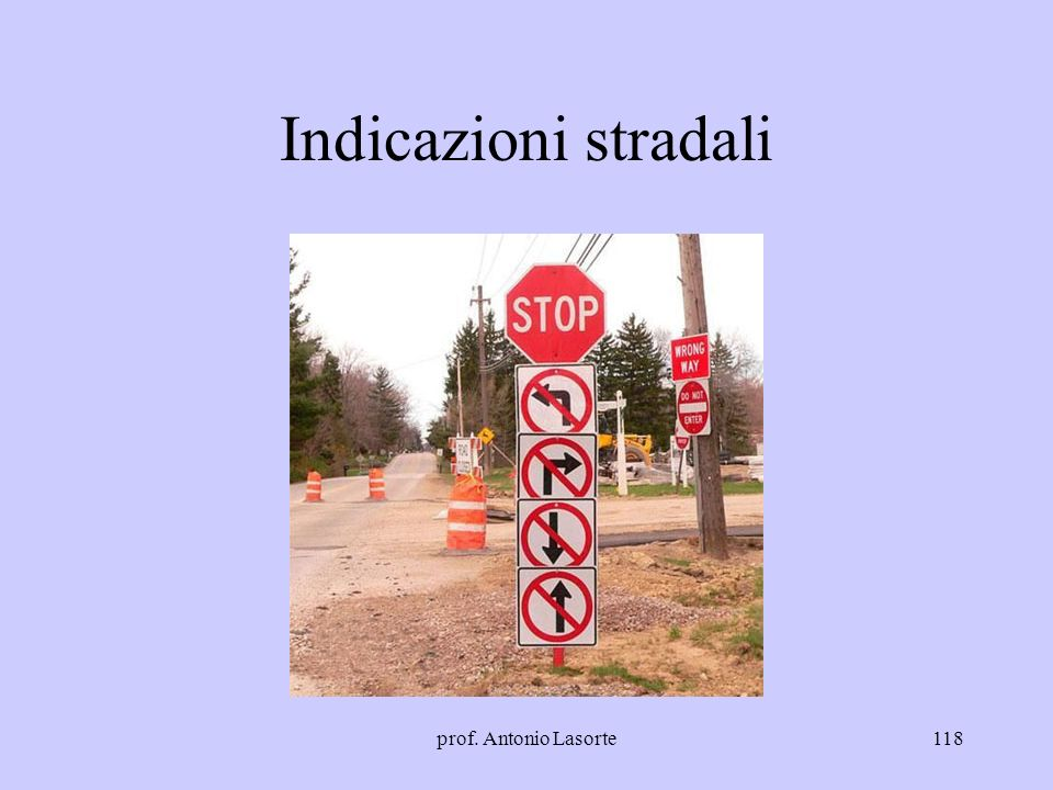prof. Antonio Lasorte118 Indicazioni stradali