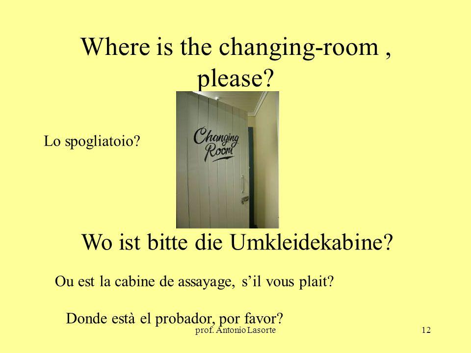 prof. Antonio Lasorte12 Where is the changing-room, please? Wo ist bitte die Umkleidekabine? Lo spogliatoio? Ou est la cabine de assayage, sil vous pl