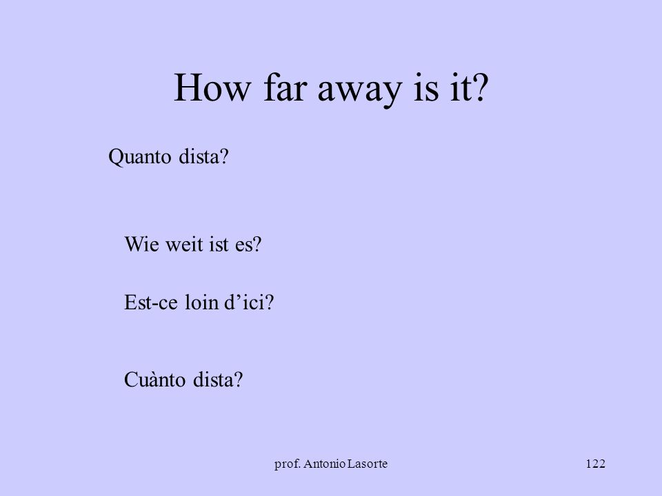 prof. Antonio Lasorte122 How far away is it? Quanto dista? Wie weit ist es? Est-ce loin dici? Cuànto dista?
