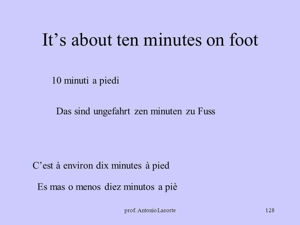 prof. Antonio Lasorte128 Its about ten minutes on foot 10 minuti a piedi Cest à environ dix minutes à pied Das sind ungefahrt zen minuten zu Fuss Es m