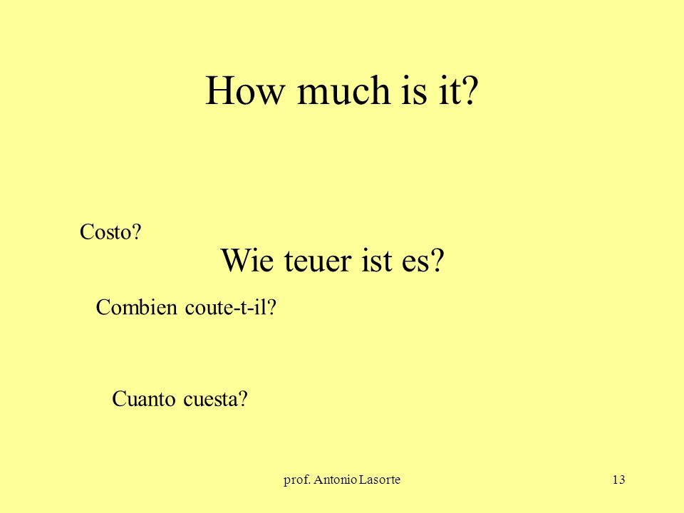 prof. Antonio Lasorte13 How much is it? Wie teuer ist es? Costo? Combien coute-t-il? Cuanto cuesta?