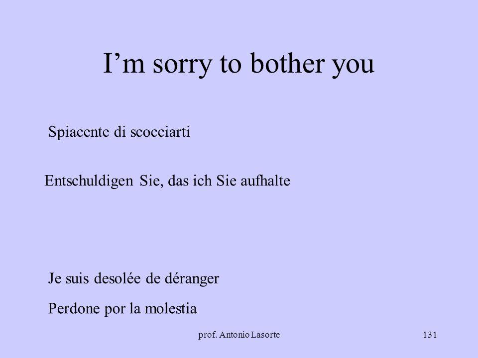 prof. Antonio Lasorte131 Im sorry to bother you Spiacente di scocciarti Je suis desolée de déranger Entschuldigen Sie, das ich Sie aufhalte Perdone po