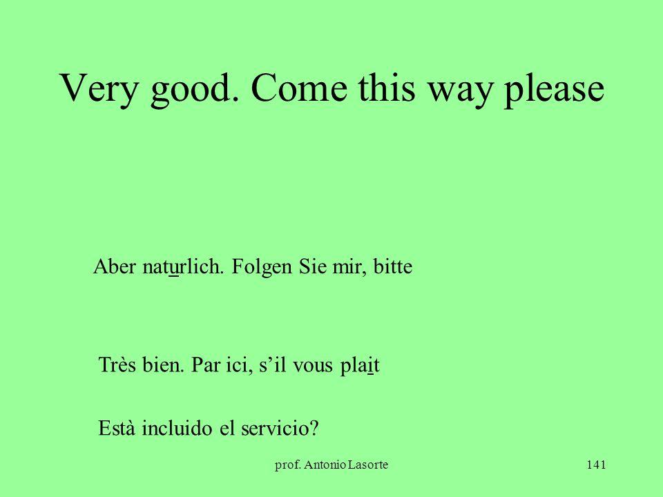 prof. Antonio Lasorte141 Very good. Come this way please Aber naturlich. Folgen Sie mir, bitte Très bien. Par ici, sil vous plait Està incluido el ser