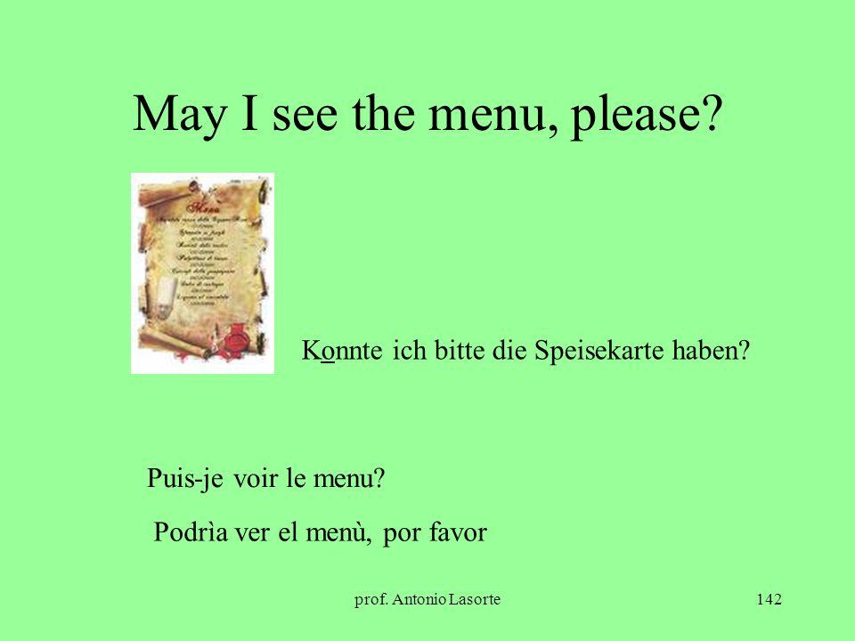 prof. Antonio Lasorte142 May I see the menu, please? Konnte ich bitte die Speisekarte haben? Puis-je voir le menu? Podrìa ver el menù, por favor