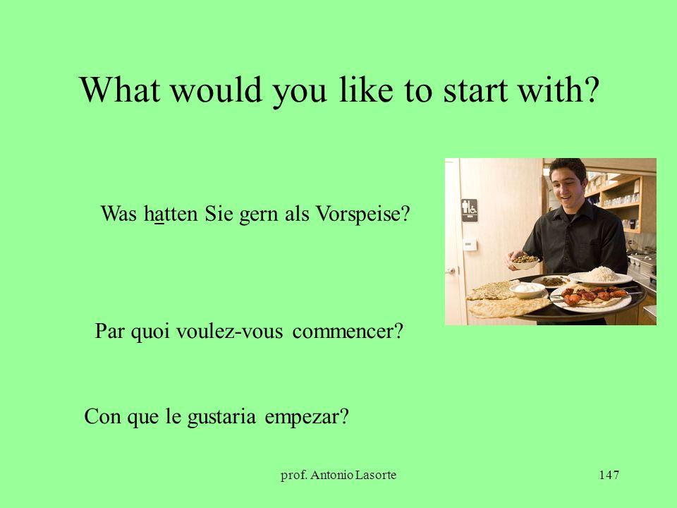 prof. Antonio Lasorte147 What would you like to start with? Was hatten Sie gern als Vorspeise? Par quoi voulez-vous commencer? Con que le gustaria emp