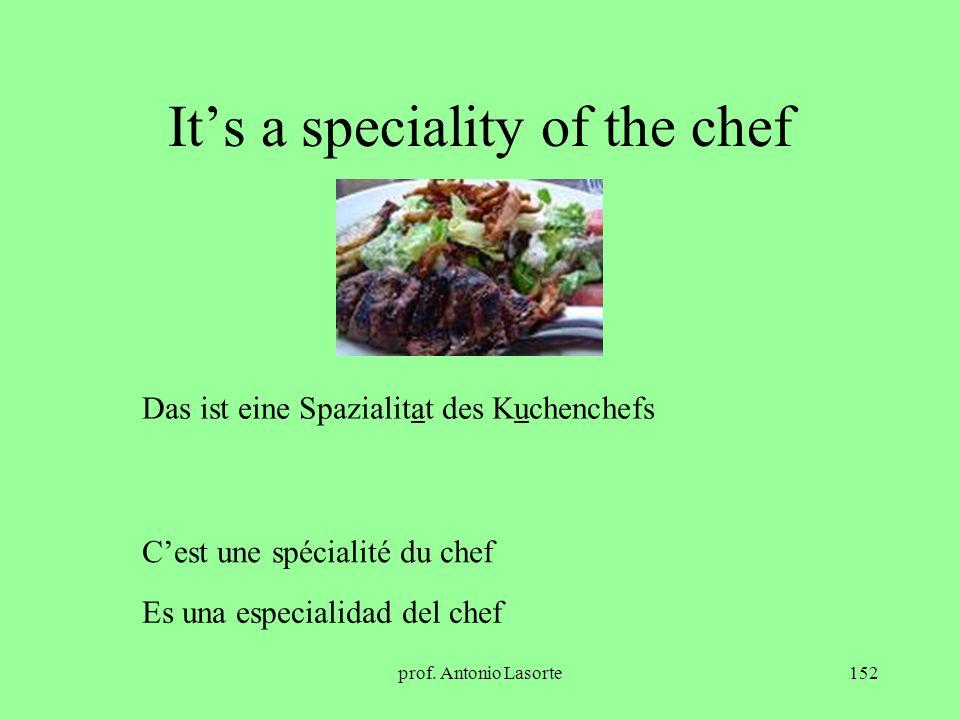 prof. Antonio Lasorte152 Its a speciality of the chef Das ist eine Spazialitat des Kuchenchefs Cest une spécialité du chef Es una especialidad del che