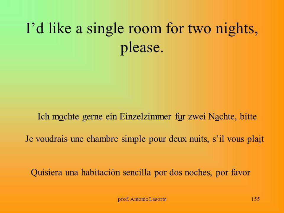 prof.Antonio Lasorte155 Id like a single room for two nights, please.