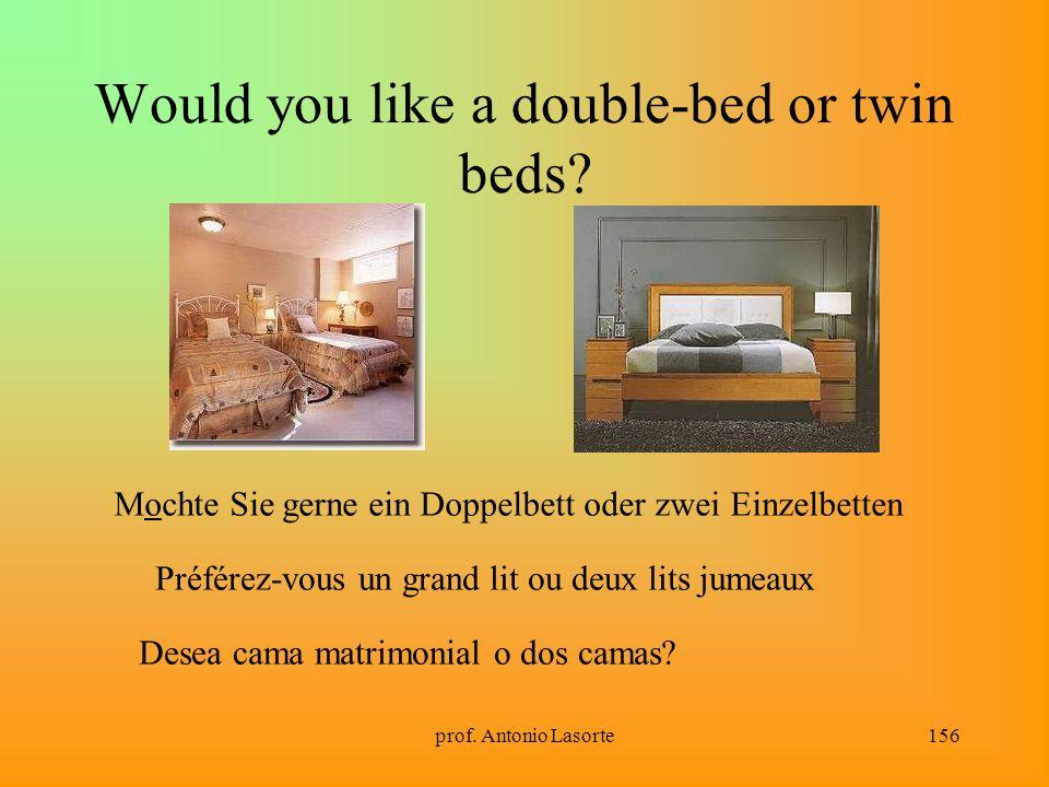 prof. Antonio Lasorte156 Would you like a double-bed or twin beds? Mochte Sie gerne ein Doppelbett oder zwei Einzelbetten Préférez-vous un grand lit o