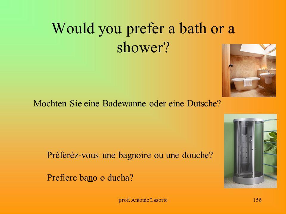prof. Antonio Lasorte158 Would you prefer a bath or a shower? Mochten Sie eine Badewanne oder eine Dutsche? Préferéz-vous une bagnoire ou une douche?
