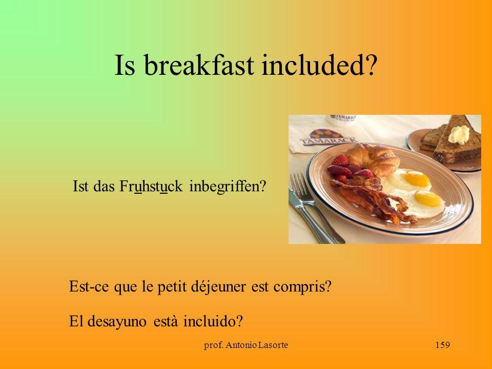 prof.Antonio Lasorte159 Is breakfast included. Est-ce que le petit déjeuner est compris.