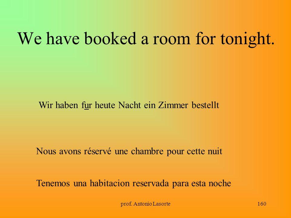 prof. Antonio Lasorte160 We have booked a room for tonight. Wir haben fur heute Nacht ein Zimmer bestellt Nous avons réservé une chambre pour cette nu
