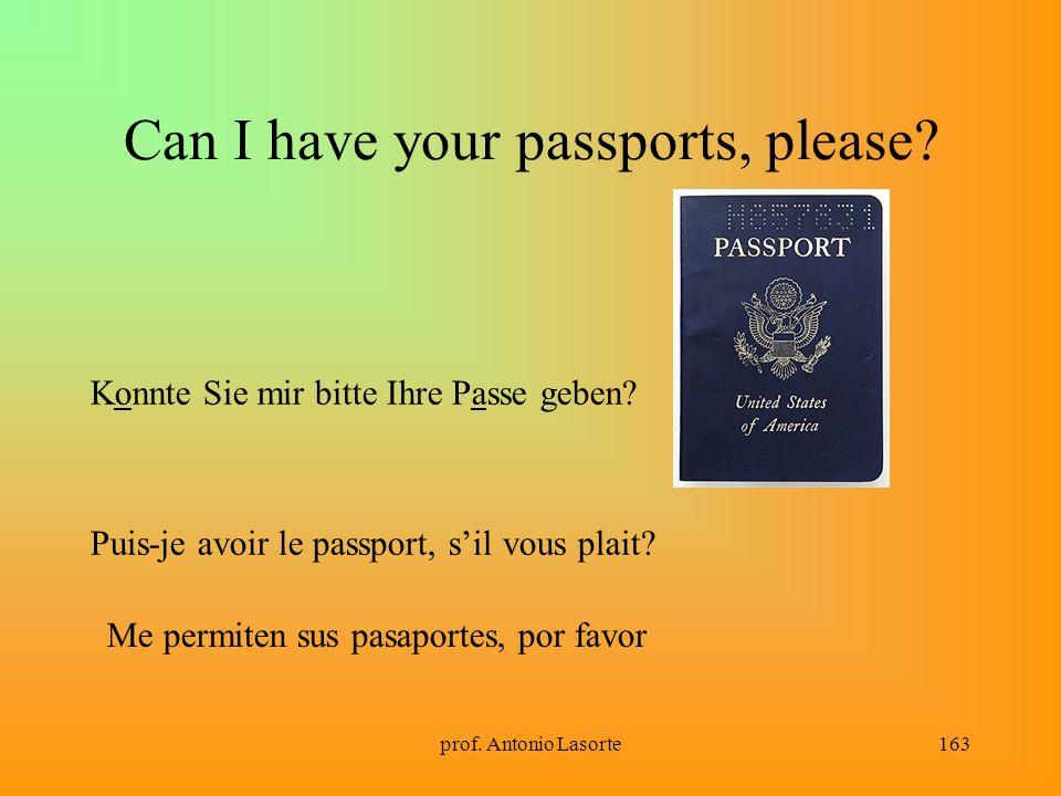 prof. Antonio Lasorte163 Can I have your passports, please? Konnte Sie mir bitte Ihre Passe geben? Puis-je avoir le passport, sil vous plait? Me permi