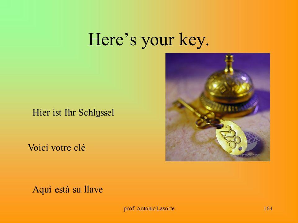prof. Antonio Lasorte164 Heres your key. Hier ist Ihr Schlussel Voici votre clé Aquì està su llave