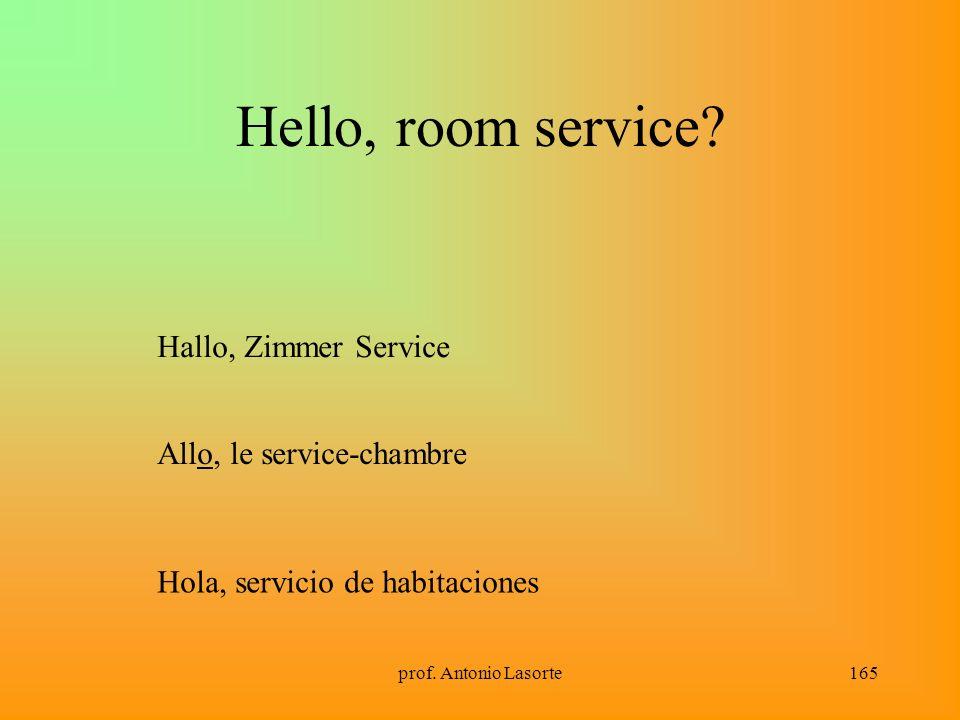 prof. Antonio Lasorte165 Hello, room service? Hallo, Zimmer Service Allo, le service-chambre Hola, servicio de habitaciones