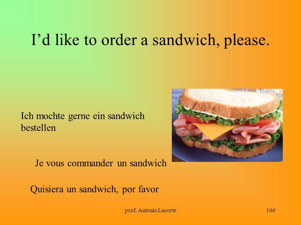 prof. Antonio Lasorte166 Id like to order a sandwich, please. Ich mochte gerne ein sandwich bestellen Je vous commander un sandwich Quisiera un sandwi