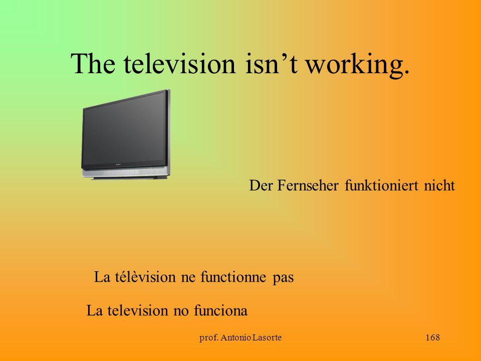 prof. Antonio Lasorte168 The television isnt working. La télèvision ne functionne pas Der Fernseher funktioniert nicht La television no funciona