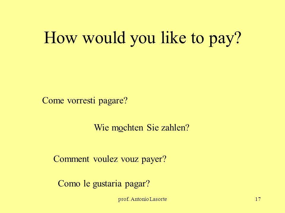 prof. Antonio Lasorte17 How would you like to pay? Wie mochten Sie zahlen? Come vorresti pagare? Comment voulez vouz payer? Como le gustaria pagar?