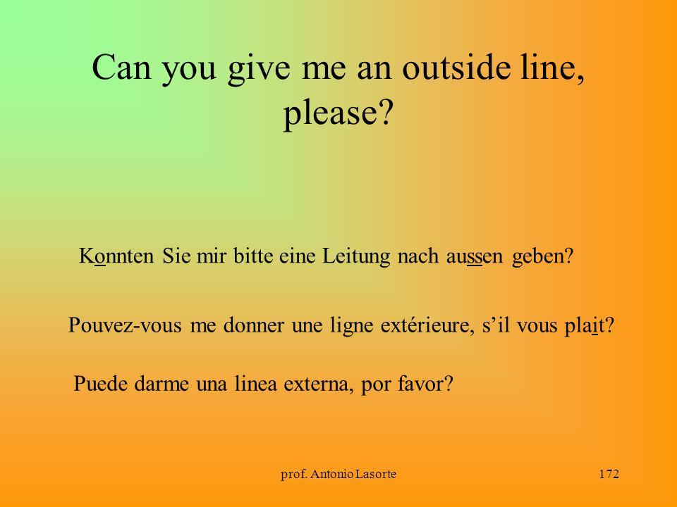 prof. Antonio Lasorte172 Can you give me an outside line, please? Konnten Sie mir bitte eine Leitung nach aussen geben? Pouvez-vous me donner une lign