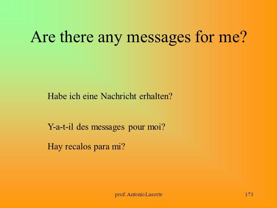 prof. Antonio Lasorte173 Are there any messages for me? Habe ich eine Nachricht erhalten? Y-a-t-il des messages pour moi? Hay recalos para mi?