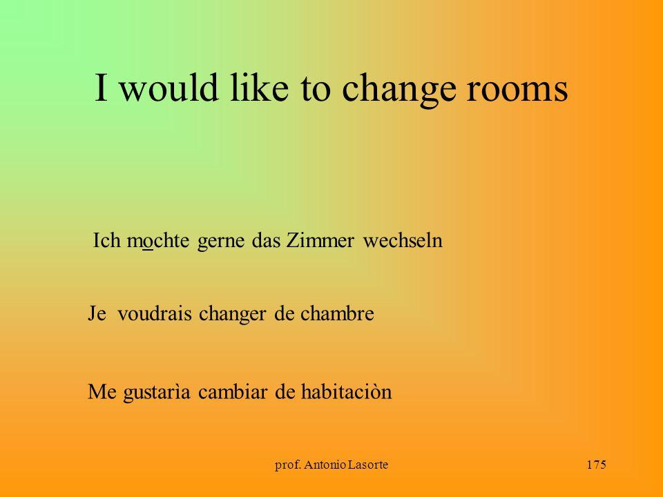 prof. Antonio Lasorte175 I would like to change rooms Ich mochte gerne das Zimmer wechseln Je voudrais changer de chambre Me gustarìa cambiar de habit