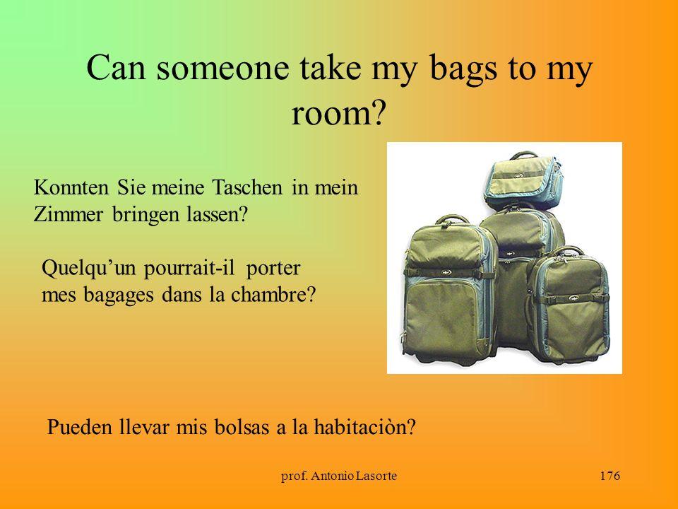 prof. Antonio Lasorte176 Can someone take my bags to my room? Konnten Sie meine Taschen in mein Zimmer bringen lassen? Quelquun pourrait-il porter mes
