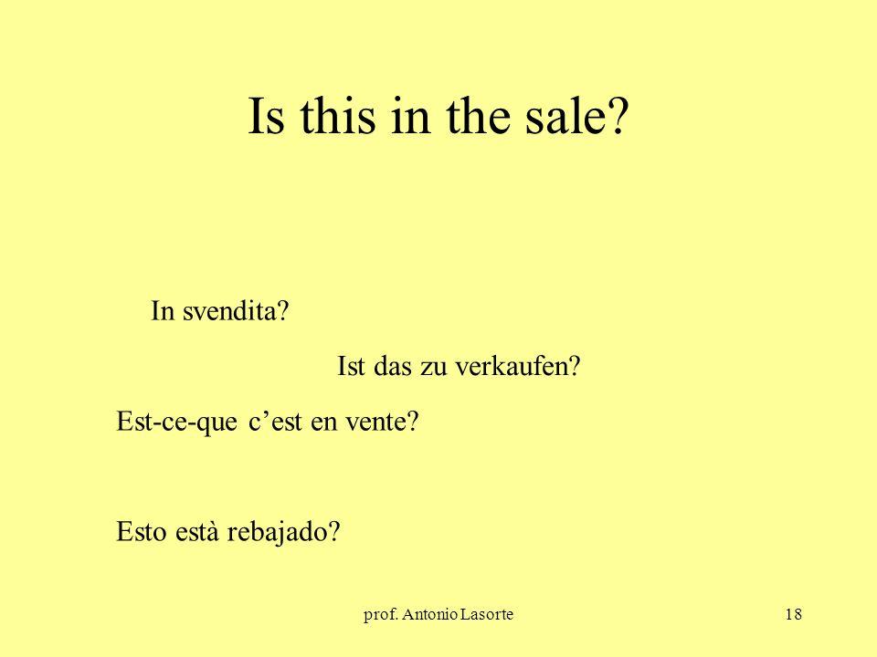 prof. Antonio Lasorte18 Is this in the sale? Ist das zu verkaufen? In svendita? Est-ce-que cest en vente? Esto està rebajado?