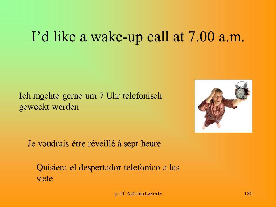 prof. Antonio Lasorte180 Id like a wake-up call at 7.00 a.m. Ich mochte gerne um 7 Uhr telefonisch geweckt werden Je voudrais étre réveillé à sept heu